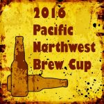 Yellow and red speckled drawing with silhouette of two bottles in lower left. Text: 2016 Pacific Northwest Brew Cup