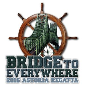 Logo: 2016 Astoria Regatta Bridge to Everywhere with drawing of Astoria-Megler Bridge and brown ship's wheel above text