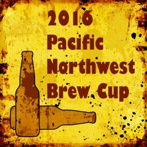 2016 Pacific Northwest Brew Cup with image of two bottles at bottom left