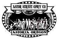 Black and white oval logo for Astor Street Opry Company Astoria Oregon showing silhouette of actors on stage