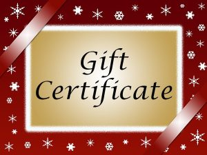 Gift Certificate with red border & white snowflakes
