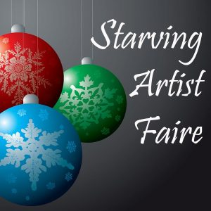 "Red, Green, Blue Christmas tree ornaments with snowflake decorations ""Starving Artist Faire"""