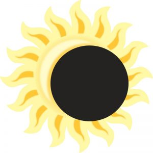 drawing of sun with partial solar eclipse