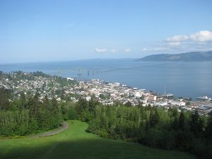 overview of Astoria Oregon from Astoria Column - green lawn, trees, city rooftops, Columbia River, bridge, Washington state in distance