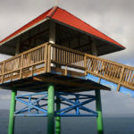 Columbia River viewing tower with red roof